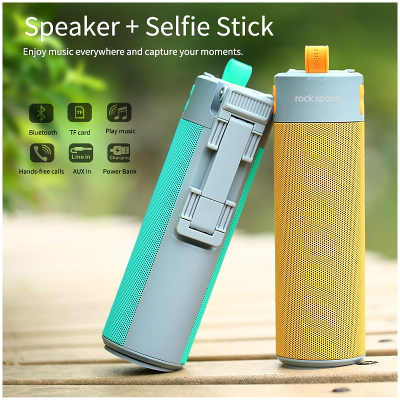 Rock Space Bluetooth speaker power bank with selfie stick in nepal , buy  online at meroyeti com